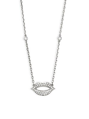 Click here for 14K White Gold Lips Diamond Pendant Necklace prices