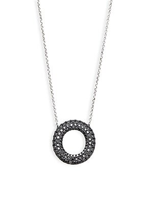 Click here for 18K White Gold & Black Diamond Open Circle Pendant... prices