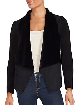 Faux Shearling-Trimmed Open Front Jacket