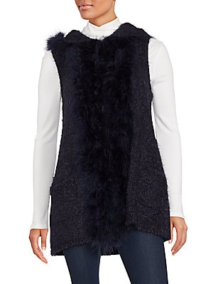 Saks Fifth Avenue Marabou Faux Fur Trimmed Hooded Vest | Clothing