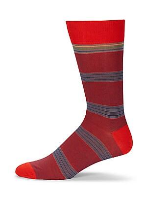 Cotton Blend Striped Socks