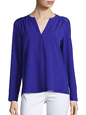 Split V-Neck Long Sleeve Top
