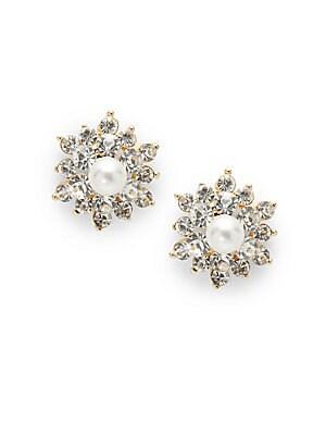 Estate Pearl & Crystal Stud Earrings