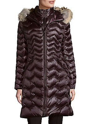 Kendall Coyote Fur-Trimmed Down Coat