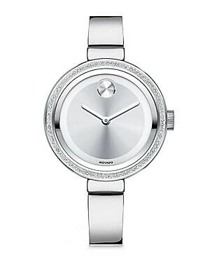 Bold Diamond & Stainless Steel Bangle Bracelet Watch