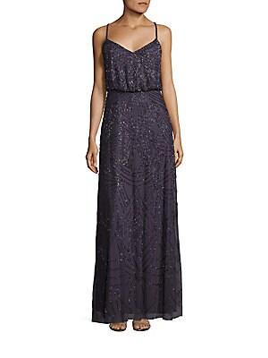Crisscross Back Sequined Blouson Gown