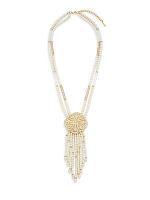 Estate Faux Pearl 14K Goldplated Beaded Brooch Tassel Necklace