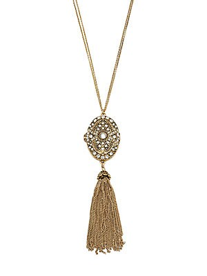 Antique Goldplated Detailed Locket and Tassel Necklace