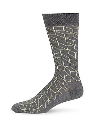 Cotton Blend Geometric Socks