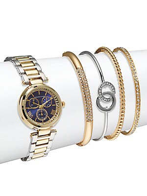 Crystal Bracelet Watch & Bangle Bracelet Set