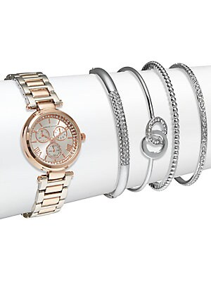 Crystal Stainless Steel Bracelet Watch & Bangle Bracelet Set