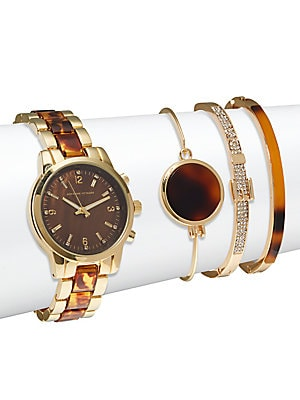 Tortoise Shell Bracelet Watch & Bangle Bracelet Set