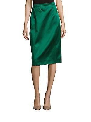 Solid Pencil Slit Skirt