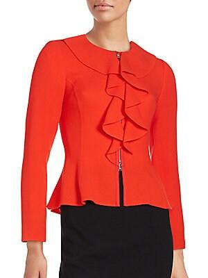Ruffle Collar Wool Jacket