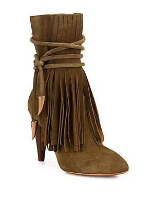 Bird Fringed Suede Point-Toe Booties