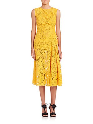 Jewelneck Gathered Waist Dress