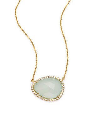 Pear-Shaped Cubic Zirconia & 18K Gold-Plated Pendant Necklace