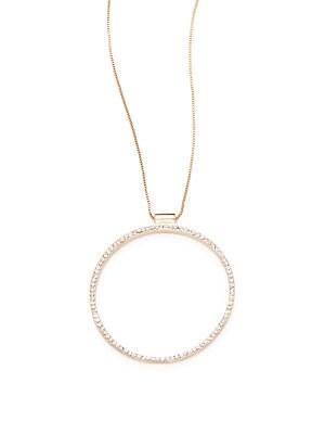 Crystal Pave Circular Pendant Necklace