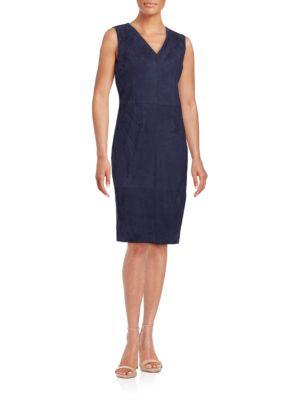 ANNMARIE SLEEVELESS SUEDE SHEATH DRESS