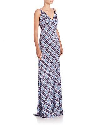 Plaid Silk Maxi Dress