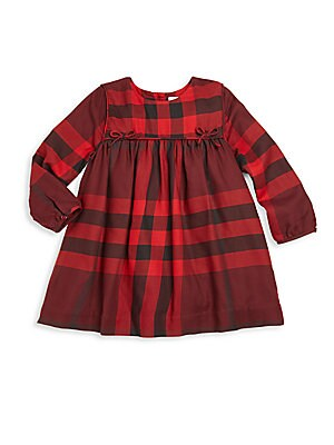 Baby's & Little Girl's Bow-Detail Check-Print Dress