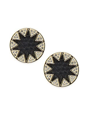 Leather Round Stud Earrings