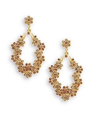 Vintage Normandie Topaz Swarovski Crystal 22K Goldplated Drop Earrings