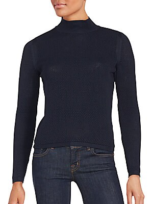 Honeycomb Mock Turtleneck Sweater