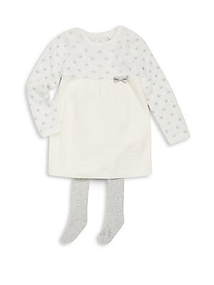 Baby's Two-Piece Holiday Crewneck Dress & Tights Set