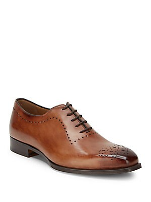 Stacked-Heel Leather Oxfords