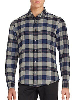 Cotton-Blend Plaid Shirt