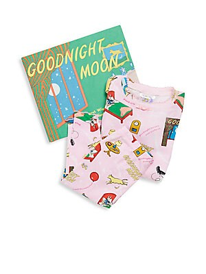 Little Girl's Goodnight Moon 3-Piece Printed Tee, Pants & Book Set
