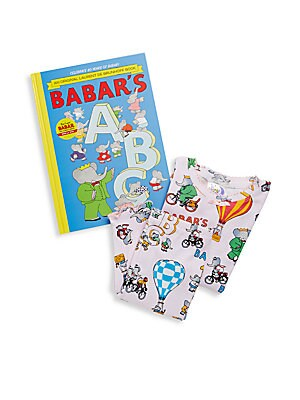 Little Girl's Babar's ABC 3-Piece Printed Tee, Pants & Book Set