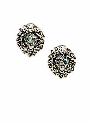 Lion Head Faux Pearl and Crystal Earrings