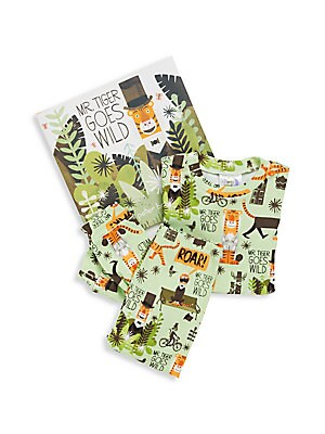 Boy's Mr. Tiger Goes Wild 3-Piece Printed Tee, Pants & Book Set