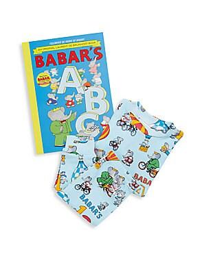 Boy's Babar's ABC 3-Piece Printed Tee, Pants & Book Set