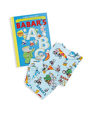 Little Boy's Babar's ABC 3-Piece Printed Tee, Pants & Book Set