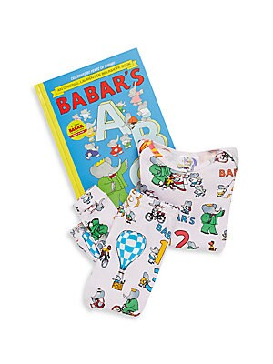 Baby's Babar's ABC 3-Piece Printed Tee, Pants & Book Set