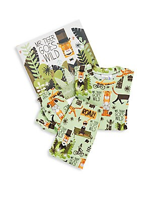 Little Boy's Mr. Tiger Goes Wild 3-Piece Printed Tee, Pants & Book Set