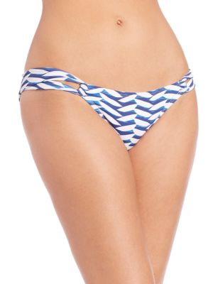 Wave-Print Loop Bikini Bottom Shoshanna