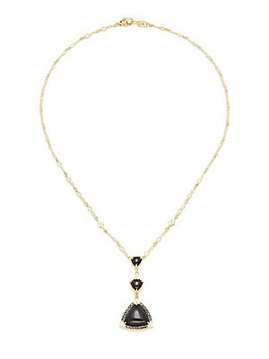 Diamond, Black Onyx & 18K Yellow Gold Pendant Necklace
