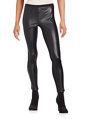 Faux Leather-Paneled Leggings