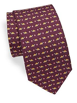 Corolla Turtle Print Silk Tie