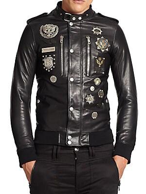 Embellished Leather Military Jacket