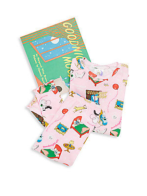 Girl's Goodnight Moon 3-Piece Printed Tee, Pants & Book Set