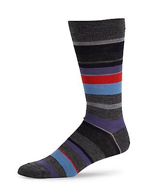 Merino Wool-Blend Striped Dress Socks