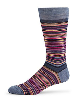 Thin Stripe Merino Wool Crew Socks
