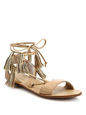 Saffron Tasseled Leather Lace-Up Sandals