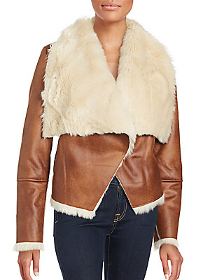 Faux Shearling Foldover Lapel Jacket