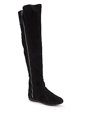 giuseppe zanotti female suede rabbit furlined kneehigh boots
